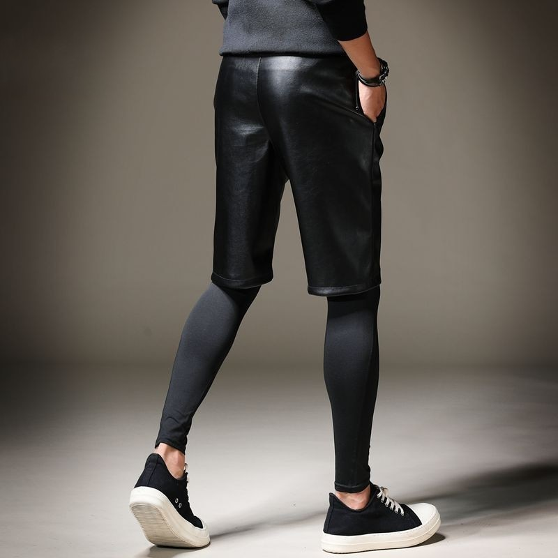 Pantalones cortos de cuero Pu hasta la rodilla de verano para hombre, pantalones Harem de Hip Hop con cintura elástica, pantalones cortos de cuero para motociclistas