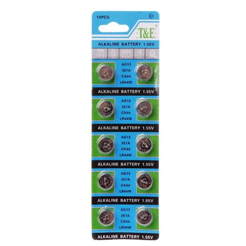 10 Uds Batería alcalina AG13 1,5 V LR44 386 botón pila de relojes de juguete baterías Control remoto SR43 186 SR1142 LR1142 X6HB