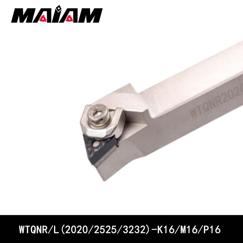 Composto virando ferramenta haste WTQN WTQNR2020 WTQNL2020 WTQNR2525 k16 m16 WTQNR3232 p16 Triângulo inserção TNMG TNMG1604 TNMG160404 08