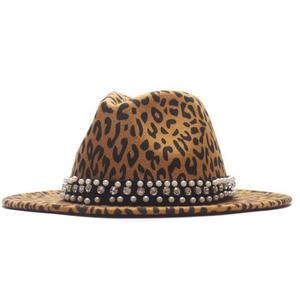 2020 Winter AutumnMen Women Wide Brim Wool Felt Leopard Print Fedora Hats With Pearl Ribbon Vintage Panama Trilby Cap Hat