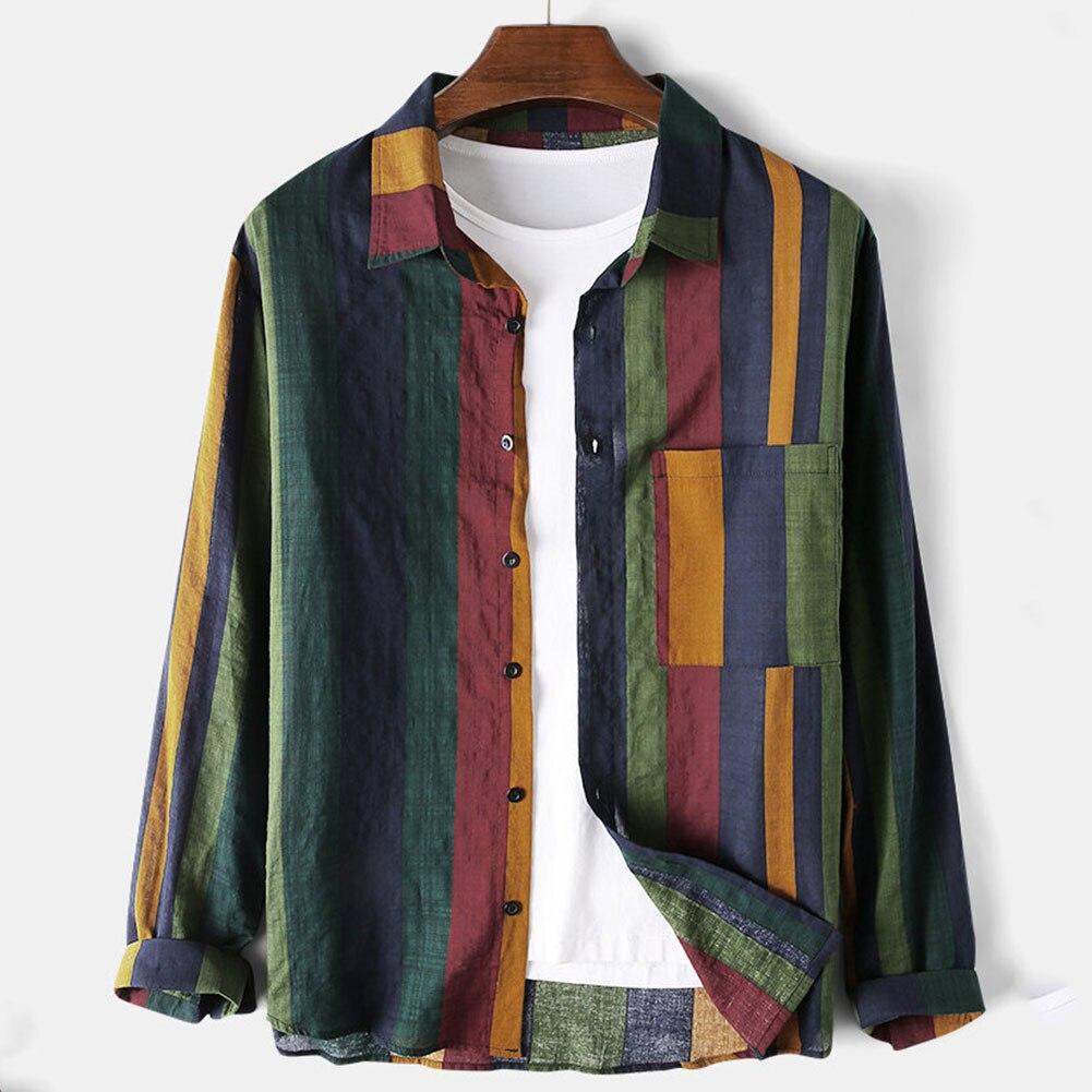 2020 camisa a rayas Vintage para hombres, Blusa de manga larga, camisas de algodón y lino para hombres, camisas transpirables informales de Hip Hop con rayas para hombres
