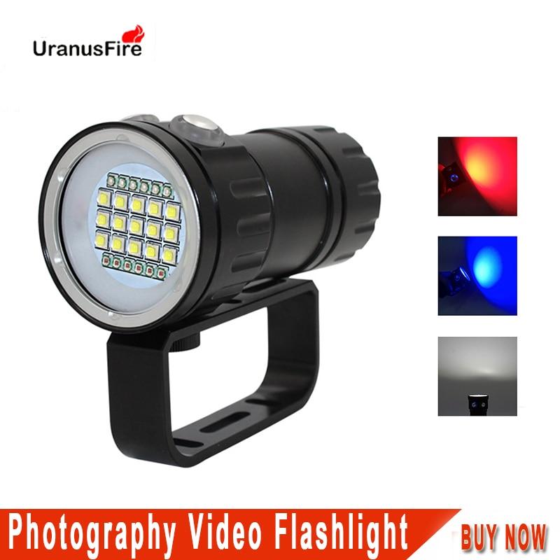 Светодиодная подводная вспышка для дайвинга 100 м XML2 синий белый красный светильник для фотосъемки видеокамеры тактическая лампа для подвод...