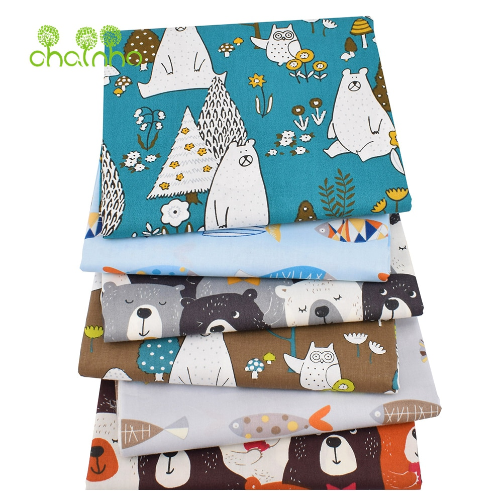 AliExpress - Chainho,6pcs/Lot,New Bears&Fishes,Twill Cotton Fabric,Patchwork Cloth,DIY Sewing Quilting Fat Quarters Material For Baby&Child