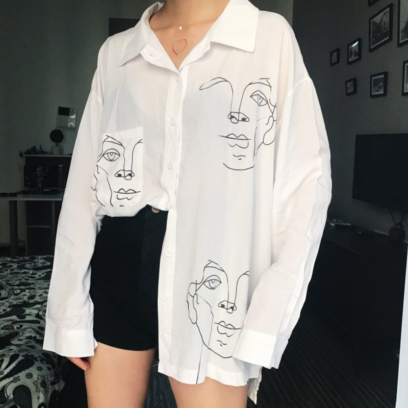 Summer Women Blouse Shirt Female Cotton Face Printing Full Sleeve Long Shirts Women Tops Ladies Clothing Boyfriend Style Shirts