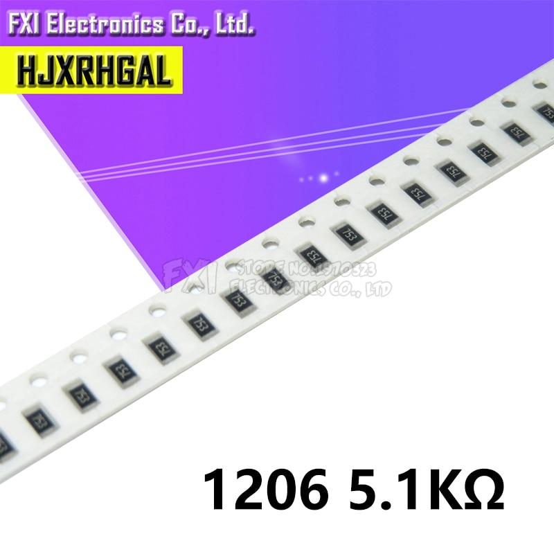 100 Uds 1206 SMD resistencia 5,1 K ohm tipo chip 0,25 W 1/4W 5K1 512 nuevo original