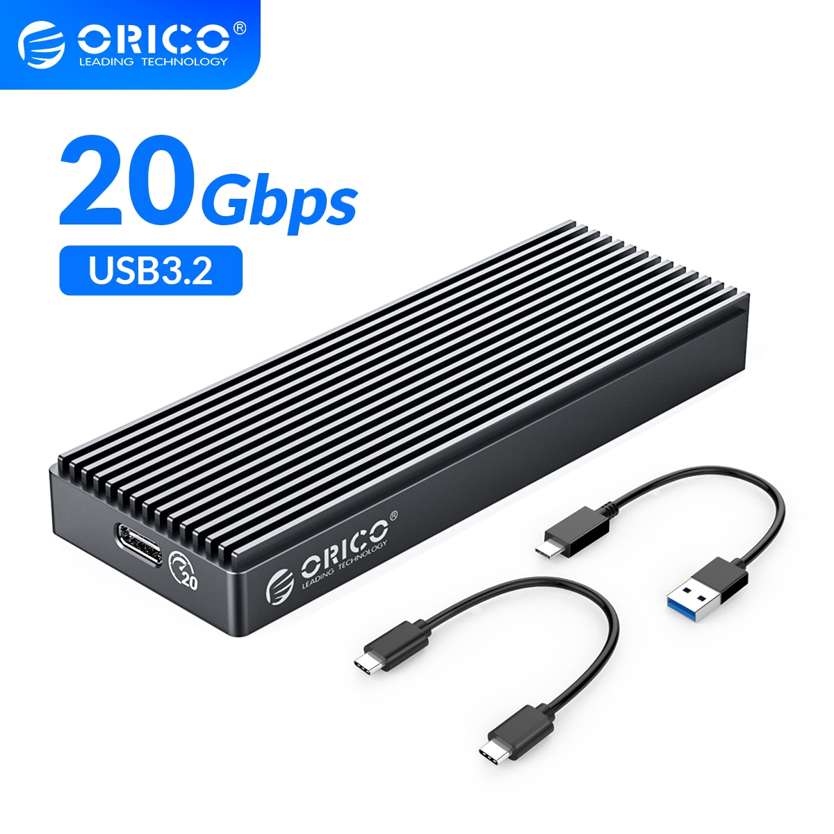 ORICO M.2 NVME SSD Case/Enclosure ASM2364 Master Chip 20Gbps USB3.2 GEN2 x2 Type-C For M.2 Hard Drive Up to 2TB A/C to C Cables