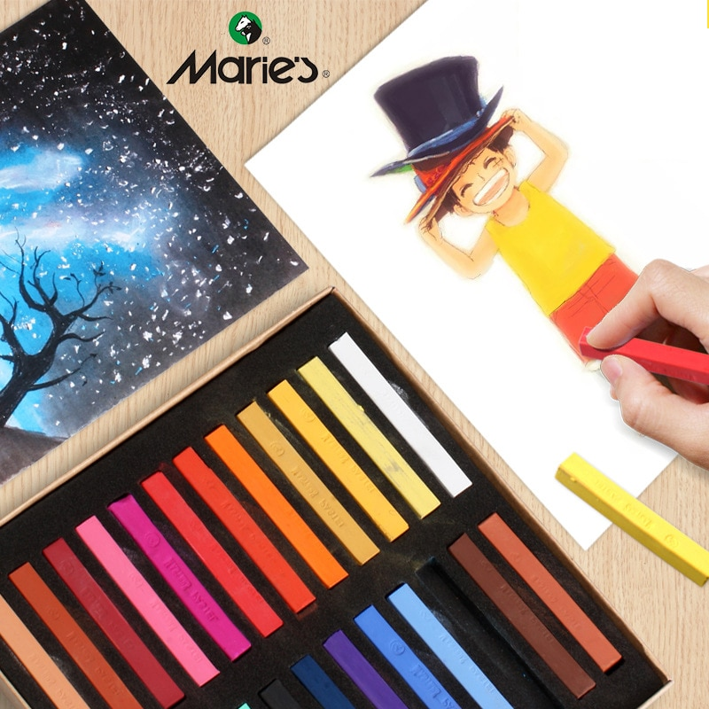 New Marie's Painting Crayons Soft Pastel Set Square Pastels Chalks Square Artist Pastel Set Box of 12/24/36/48 Assorted Colors