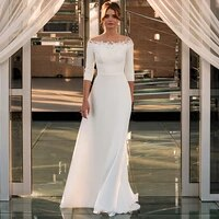 elegant sweep train white wedding dresses 2021 custom made o neck three quarter sleeve appliques bridal gowns with zipper back