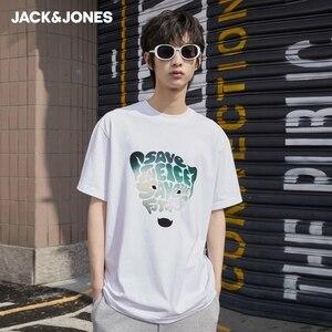 JackJones Men's 100% Cotton Flocking Gradient Letter Loose Fit Unisex Lover's Short-sleeved T-shirt| 221201103