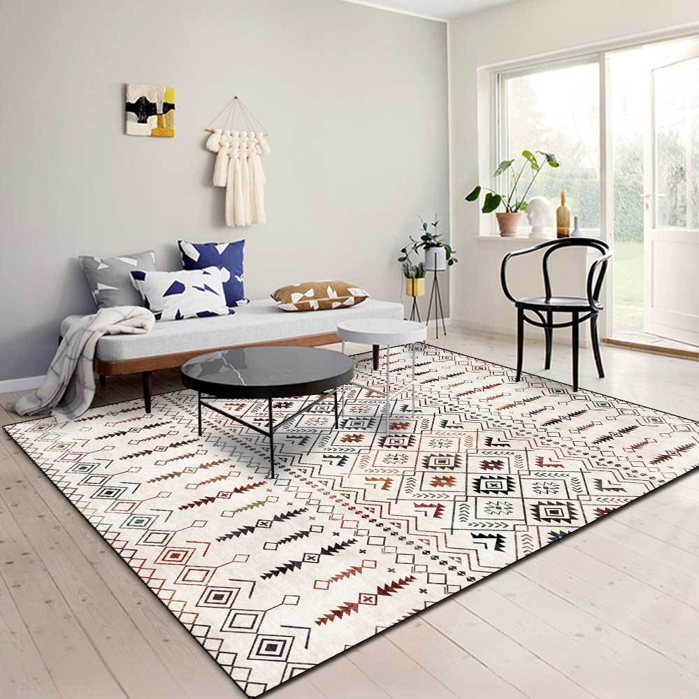 سجادة مطبوعة بخطوط هندسية بسيطة ، على الطراز البوهيمي العرقي ، للاستخدام المنزلي ، وغرفة النوم ، وأريكة غرفة المعيشة ، وطاولة أرضية غير قابل...