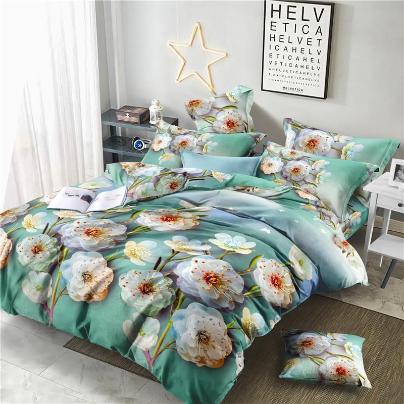 Calidad 100% fibra de bambú juego cama Dobby 4 Uds rosa de flor de melocotón, funda nórdica ropa de cama A293