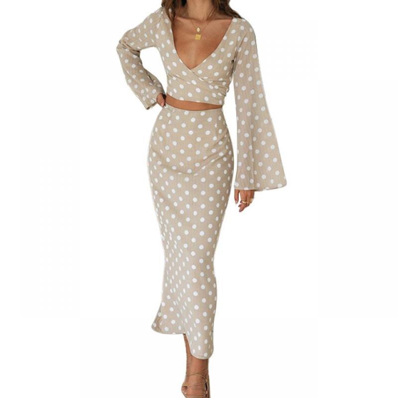 2020 Conjunto elegante de dos piezas de falda de moda con estampado de puntos de Velour, conjunto de falda Sexy de manga acampanada para mujer, conjunto de vestido de dos piezas con escote en V profundo