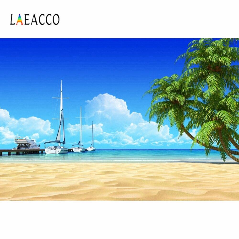 Laeacco Летний морской пляж пальмы парусная лодка фото фон Декор портрет виниловый Фотофон для студии