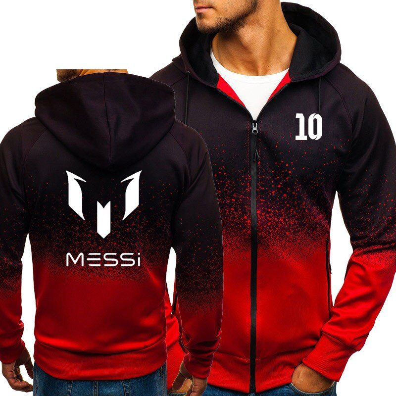 Мужские толстовки с капюшоном Messi 10, толстовка с принтом, градиентная демисезонная флисовая куртка на молнии, Мужская Уличная одежда в стиле хип-хоп Harajuku, мужская одежда