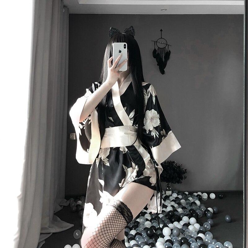 Women Sexy Sakura Kimono Lovely Japanese Uniform Robe Floral Bathrobe Short Night Fashion Dressing Gown
