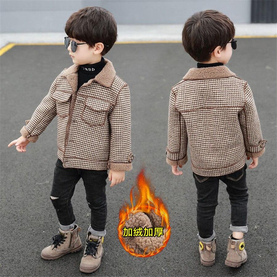 2020 высокое качество, дети, пальто Шерстяное пальто для мальчиков; Модная осенне-зимняя куртка для мальчика в клетку, теплое детское зимнее пальто От 2 до 10 лет-2