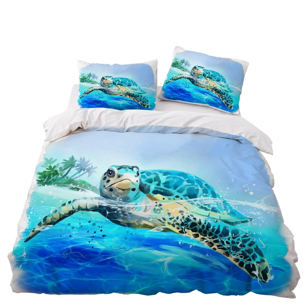 Sea Turtle Bedding Set Bedroom Decor Doona Quilt Cover Microfiber Kids Gift Hypoallergenic 1PC Duvet Cover with Pillowcase