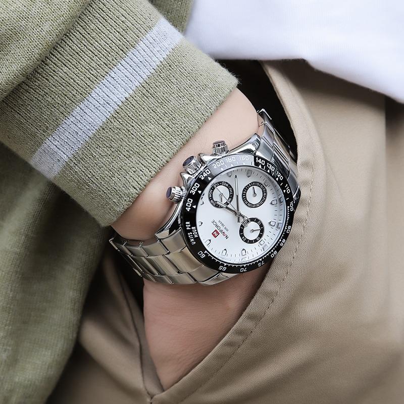 موضة جديدة نمط NAVIFORCE العلامة التجارية الرجال كوارتز ساعة متعددة الوظائف الفاخرة الأعمال مقاوم للماء تاريخ كامل الصلب محايد ساعة اليد