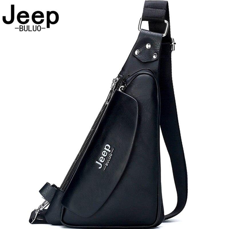 جيب BULUO العلامة التجارية الشهيرة حقائب كتف للرجال الرجال حقيبة كروسبودي صغيرة انقسام الجلود السوداء حقيبة صدر للرجال جودة عالية 2021