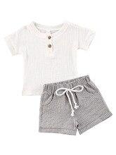 Nouveau-né bébé fille 0-3T vêtements couleur unie à manches courtes couverture en coton rayé court pantalon 2 pièces tenues confortable ensemble de vêtements