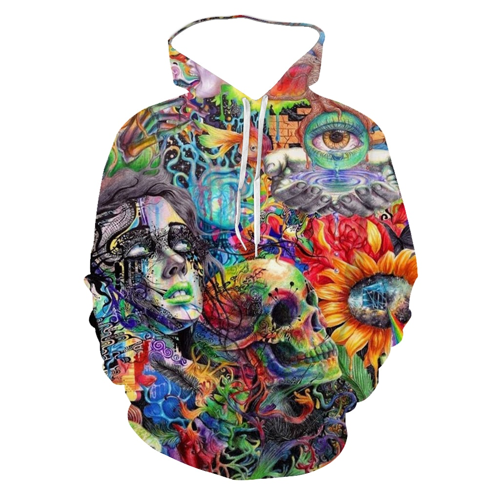 Spring And Autumn Skull 3d Hooded Sweater/Sweater New Fashion Hooded Winter And Autumn Long Sleeve Street Men And Women