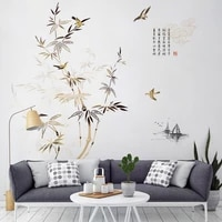 chinese style large bamboo tree wall sticker home office decor teenager living room bedroom decoration wallstickers wallpaper