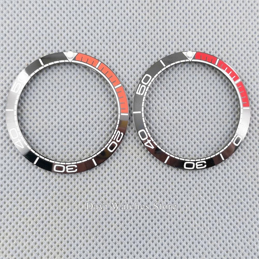 high quality watch bezel 38mm black red/orange ceramic watch bezel insert for 40mm parnis Automatic men's  Watch