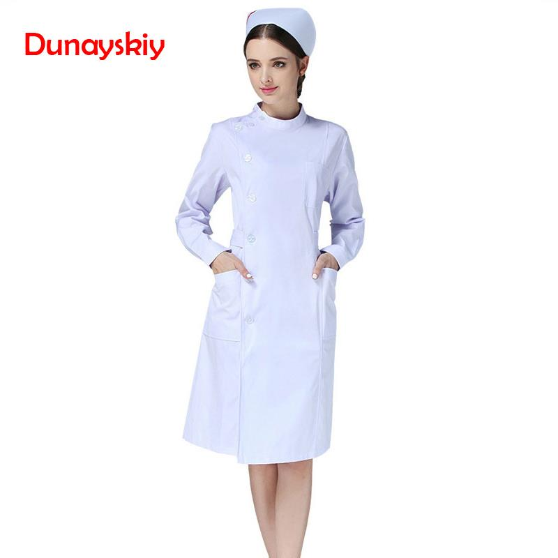 New Nurse Uniforms Long Robe for Women Winter Medical  Full Length Poly Cotton SPA Beautician Veterinary Work Wear Nurse Uniform