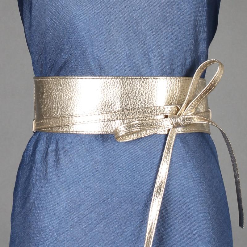 Spring Autumn Women Lady Fashion Metallic Color Soft Faux Leather Wide Belt Self Tie Wrap Waist  Dress surplice wrap tie waist stripe dress