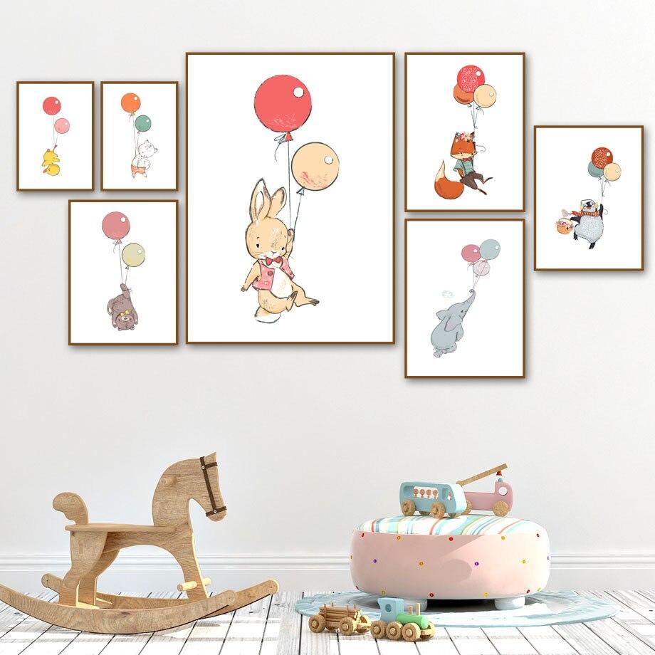 Conejo, elefante, zorro, oso, Color, globo, Animal, nórdico, pintura de arte para la pared, decoración de la habitación de los niños, carteles, pintura en lienzo M472