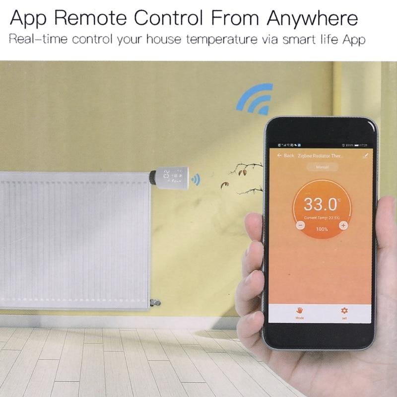 Wifi TUYA Zigbee3.0 TRV Thermostat Thermostatic Radiator Actuator Remote Control 425D