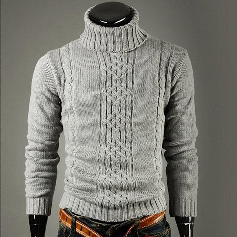 Мужская водолазка с лацканами, однотонная вязаная Водолазка с длинным рукавом, стандартный свитер с высоким воротником для зимы