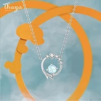 thaya s925 silver necklaces chain mermaid design blue artificial crystal sterling silver pendant necklace for women fine jewelry