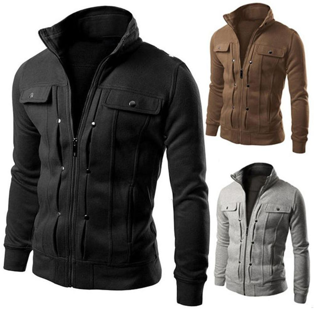 Plus Size 4XL Men Solid Color Stand Collar Long Sleeve Zip Pocket Slim Jacket Coat Men's Fashion Jacket Winter Warm Top