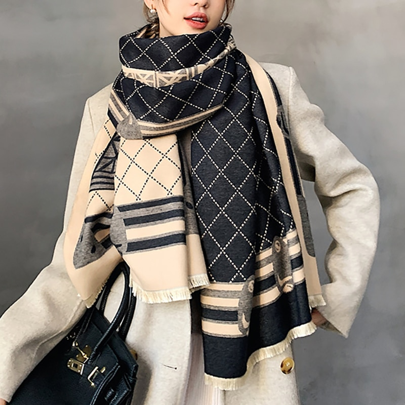 2021 New Winter Scarf Iron Tower Cashmere Shawl Women's Warm Double-Sided Thick Foulard Lady Fashion