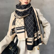 2021 New Winter Scarf Iron Tower Cashmere Shawl Women's Warm Double-Sided Thick Foulard Lady Fashion
