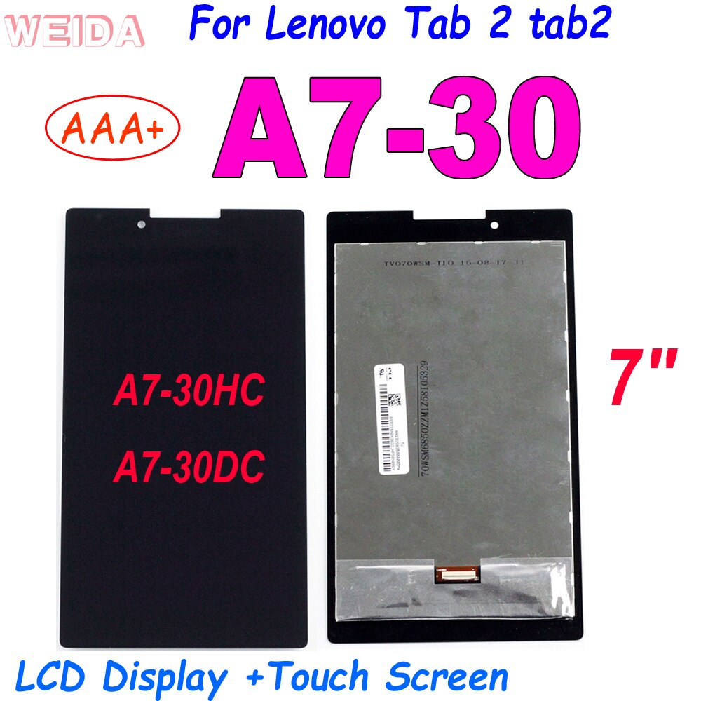 AAA+ 7'' LCD For Lenovo Tab 2 tab2 A7-30 A7-30HC A7-30DC LCD Display Touch Screen Digitizer Assembly for Lenovo A7-30 Display