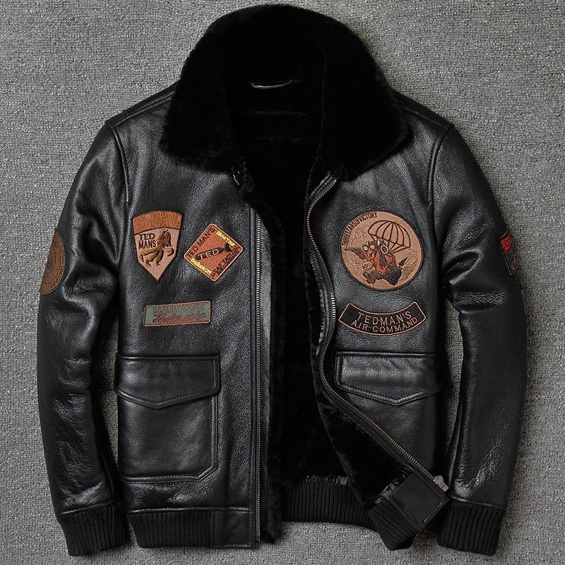 Winter Genuine Jacket Sheepskin for Men Natural Fur Coat Pilot Real Leather Jackets H799 KJ864