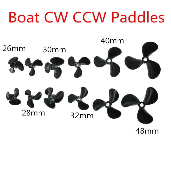2pcs CW CCW Propellers Diameter 26mm 28mm 30mm 32mm 40mm 48mm Blades Three-Leaf Props/Paddle fr DIY Boats Models 3mm 4mm Hole