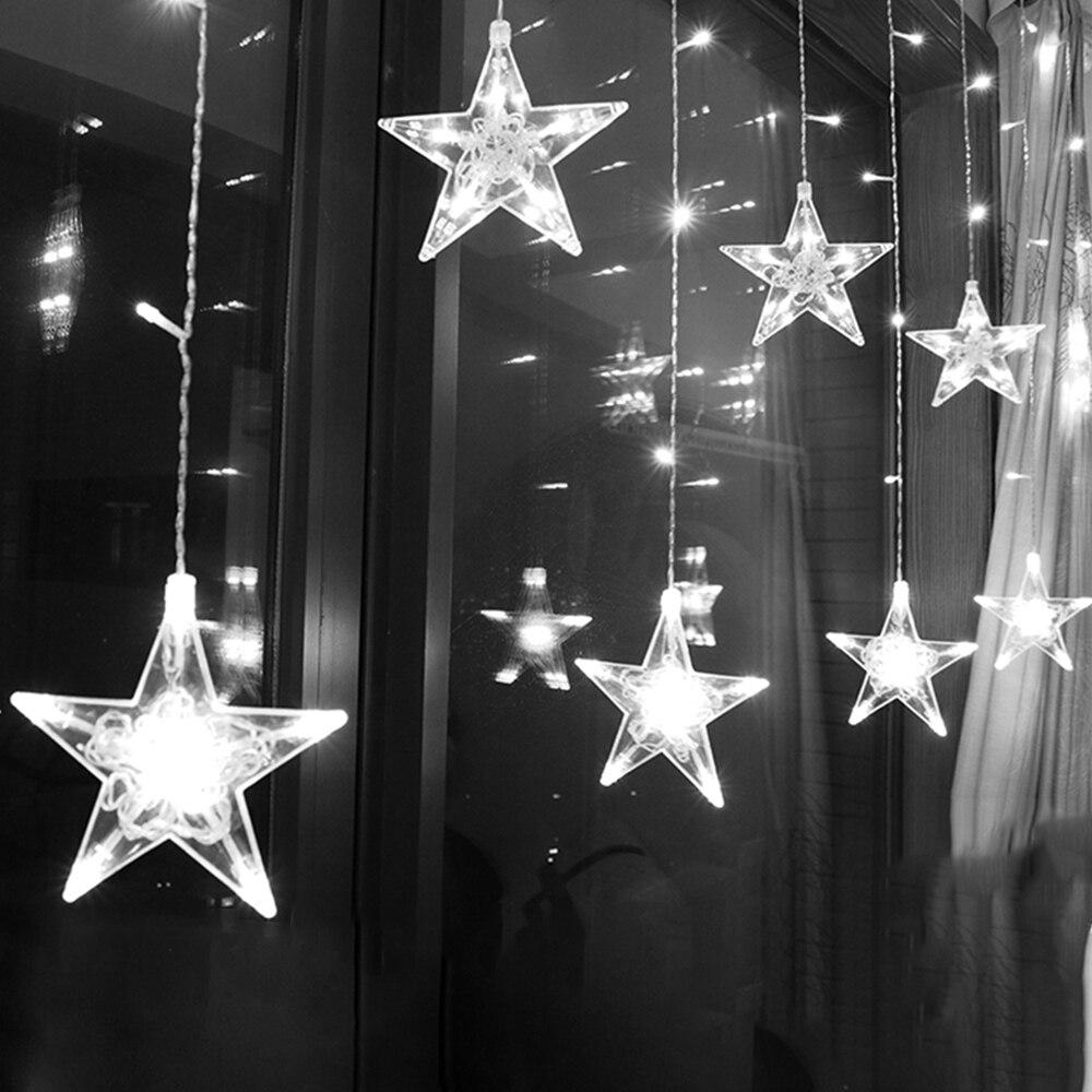 2,5 M cortina de luz LED estrella guirnalda de Navidad 220V UE iluminación exterior/interior cadena lámpara de hadas boda fiesta Decoración
