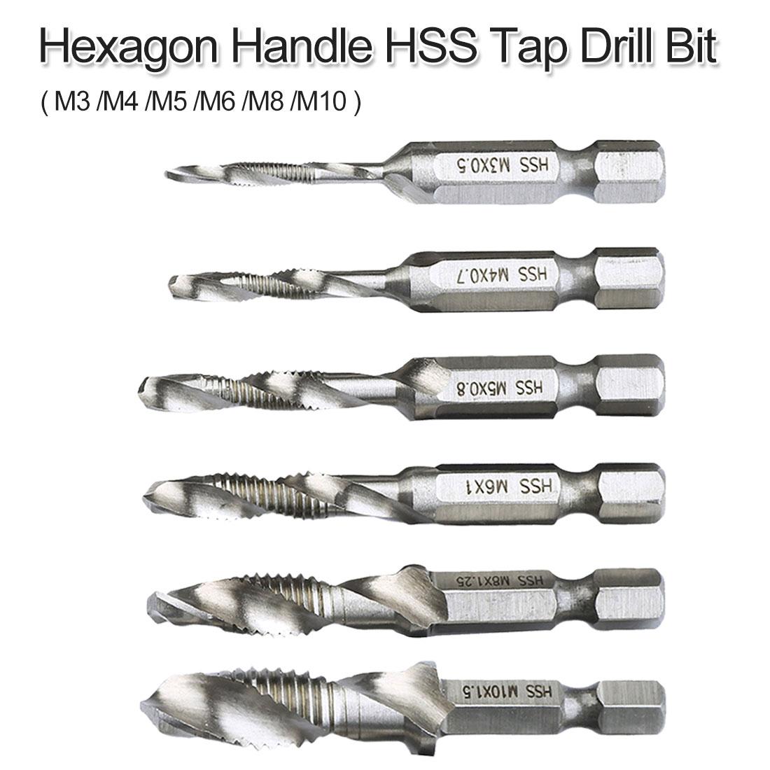 "M3/M4/M5/M6/M8/M10 broca giratoria 1/4 ""mango hexagonal grifo de mano HSS clavija roscada broca para carpintería herramienta cortadora de agujeros"