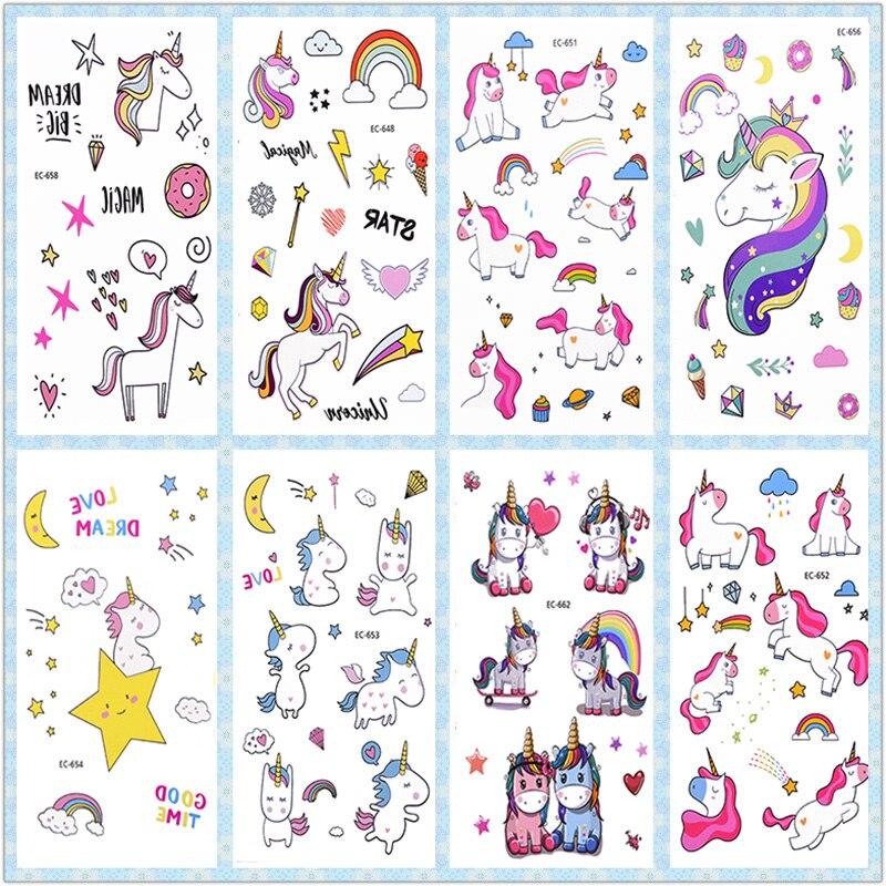 Adesivo de tatuagem de unicórnio arco-íris, decoração de festa de aniversário infantil, adesivos de unicórnio, tatuagens temporárias, suprimentos para festa de unicórnio 3 pçs