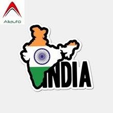 Aliauto Lustige Kontinent Indien Flagge PVC Auto Aufkleber Sonnencreme Wasserdicht Reflektierende Decals Zubehör für Suzuki, 12cm * 10cm