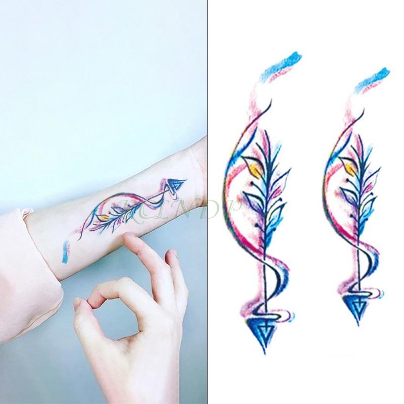 Tatuagem temporária à prova dwaterproof água etiqueta colorida seta pena tatto adesivos flash tatoo tatuagens falsas para meninas mulher senhora