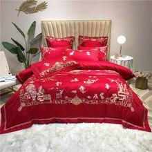 Style chinois quatre pièces ensemble de 100 coton broderie fleurs ensemble de literie couette ensembles de literie roi housse de couette