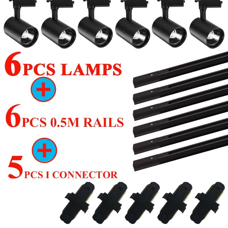 Whole Set Led Track Lights 12/20/30/40W COB Track Lamps for Shop Rail Aluminum Spotlights for Clothi