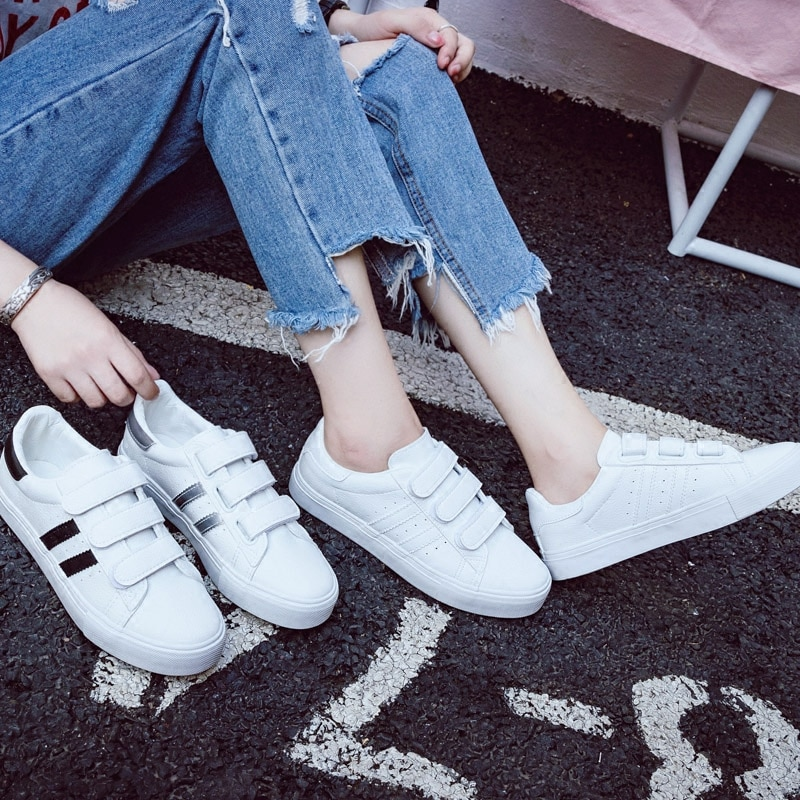 Women Sneakers Leather Shoes Trend Casual Flats Sneakers Female New Fashion Comfort Stiped Breathabl