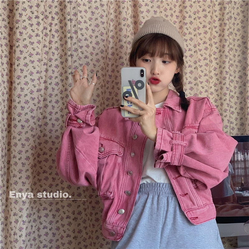 Korean Chic Spring Retro Girl Embroidery Western Style Youthful-Looking All-Matching Loose Short Fas