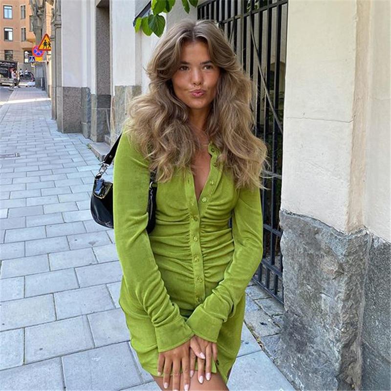 Pleated Turn-Down Collar Button Blouse Dress Women Sexy Long Sleeve Mini Dresses Solid Streetwear Female Shirt Vestidos