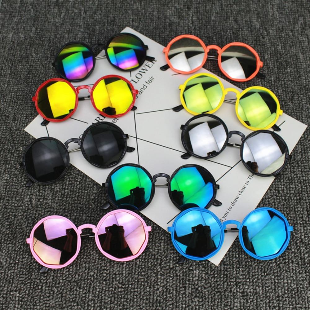Vintage Children Colorful Sunglasses UV400 Round Reflective Glasses Girls Boys Ultra-light Fashion C